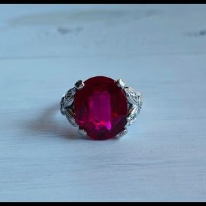 Jewelry - Vintage 14k White Gold Ruby Diamond Cocktail Ring